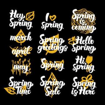 Cotizaciones dibujadas a mano en tiempo de primavera. ilustración de vector de elementos de diseño de naturaleza de letras manuscritas.