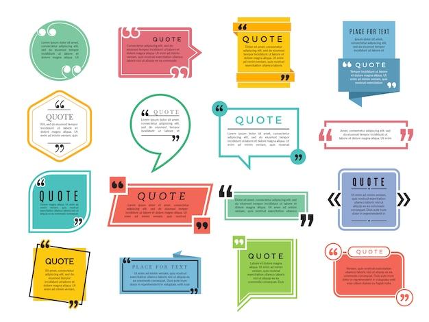 Cotizaciones de formas. cuadros de texto comentarios oraciones citas plantilla de marco de tipografía de vector