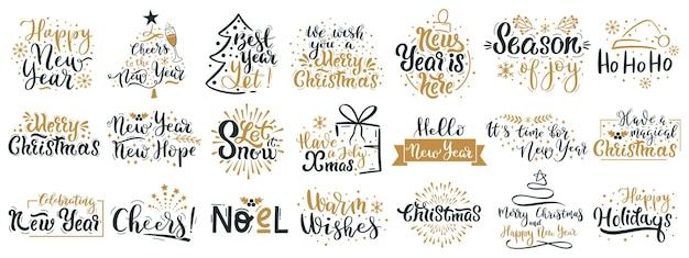 Cotizaciones de letras de feliz navidad. feliz año nuevo saludos de vacaciones de invierno, navidad festivo letras frases vector conjunto de ilustraciones. citas navideñas dibujadas a mano