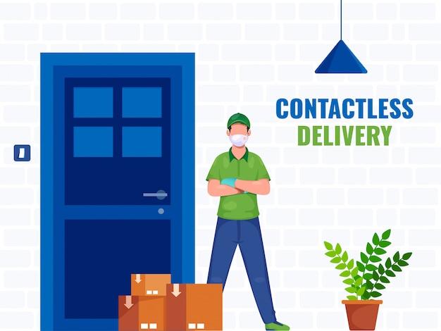 Courier boy con máscara protectora con cajas de paquetería en la puerta para el servicio de entrega sin contacto.