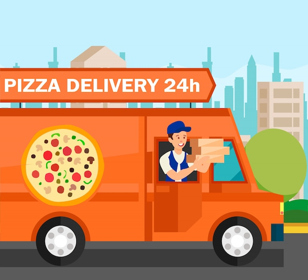 Courier delivering food orders vector illustration
