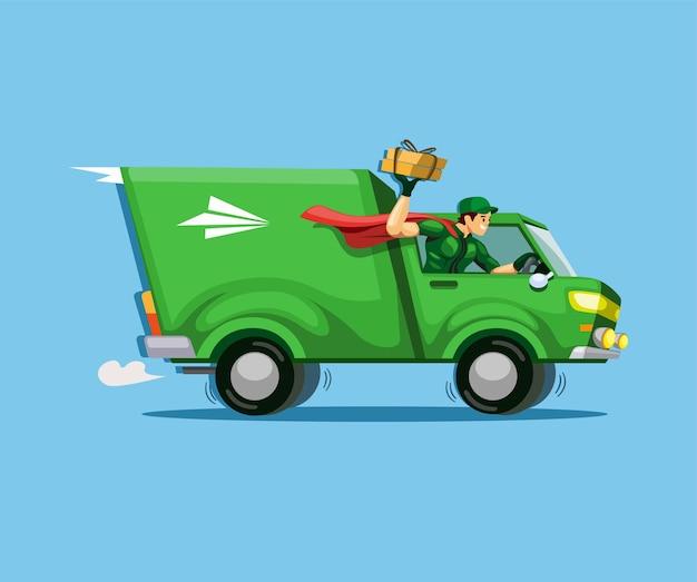 Courier express conduciendo un camión con paquete al cliente.