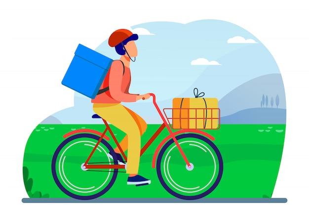 Courier montando bicicleta con paquetes