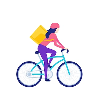 Courier montando bicicleta, trabajador de entrega en bicicleta aislado en blanco,