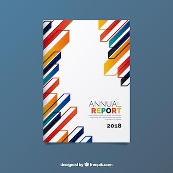 Cover abstracto de reporte anual con formas coloridas