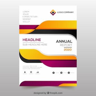 Cover creativo de reporte annual en estilo gradiente