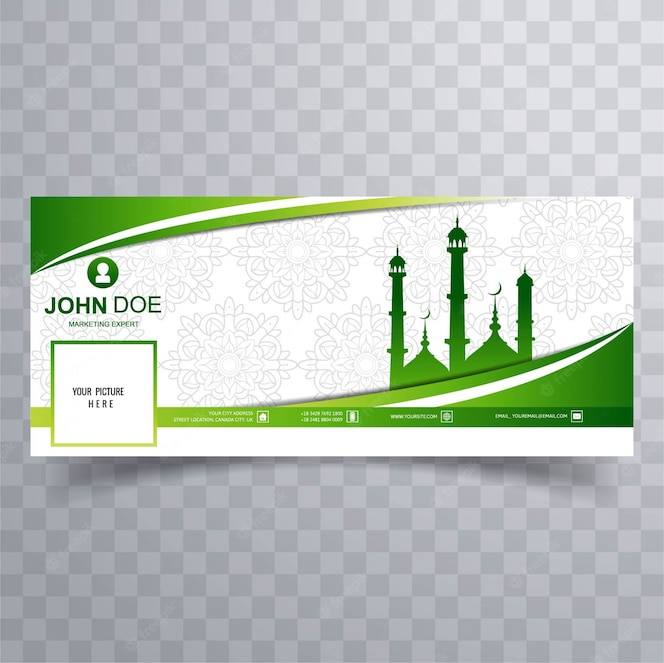 Cover de facebook verde con mezquita