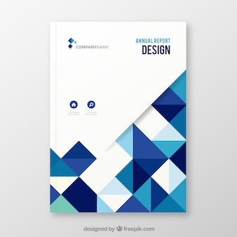 Cover elegante blanco y azul de reporte anual con formas geométricas