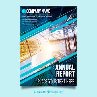 Cover moderno de reporte anual con imagen