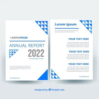 Cover de reporte annual azul y blanco