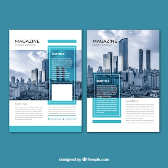 Cover de revista de negocios con imagen