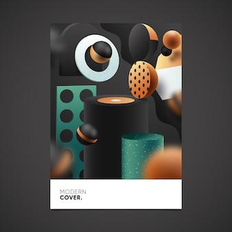 Cover3d plantilla de plantilla de portada de formas geométricas