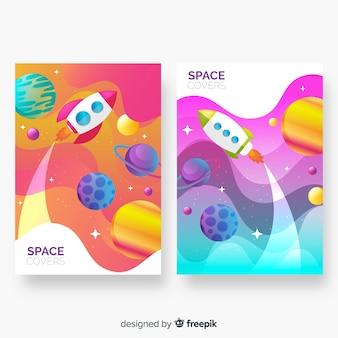 Covers abstractos coloridos del espacio exterior