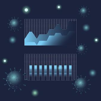 Covid 19 área de estadísticas de virus y gráfico de barras diseño de icono de estilo degradado