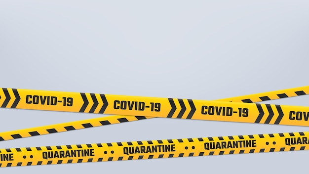 Covid-19 cordón o borde de rayas de cuarentena, cinta amarilla.