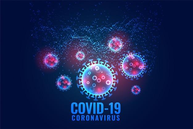 Covid-19 corona virus células diseminando diseño de fondo