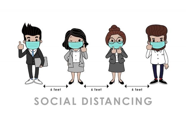 Covid-19 (coronavirus) e infografía de distanciamiento social.
