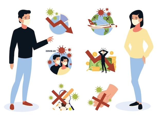 Covid 19 crisis impacto del coronavirus, economía global, contactos, eventos deportivos y crisis financiera