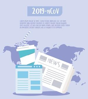 Covid 19 cuarentena, brote a través de las redes sociales, noticias de última hora ilustración mundial
