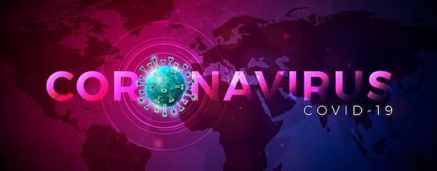 Covid-19. diseño de brote de coronavirus con célula de virus en vista microscópica sobre fondo abstracto azul del mapa del mundo
