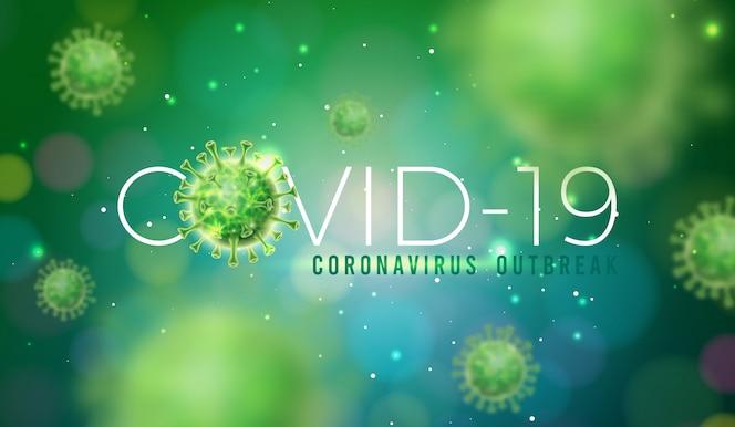 Covid-19. diseño de brote de coronavirus con célula de virus en vista microscópica
