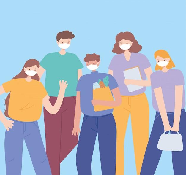 Covid 19 distanciamiento social de coronavirus, personas con ilustración de mascarilla médica