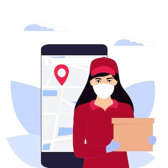 Covid-19. epidemia de coronavirus. courier girl en una máscara médica protectora tiene un paquete. pedidos en línea de bienes y alimentos. entrega segura plantillas de diseño de páginas web. quedarse en casa.