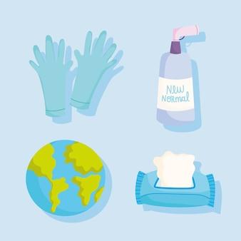 Covid 19 guantes de protección y prevención, papel y gel, desinfectan e iconos mundiales, ilustración vectorial