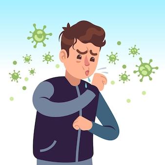 Covid-19. hombre tosiendo rodeado de germen de coronavirus. protéjase, prevención de la salud médica, concepto de medicina de vector de higiene personal