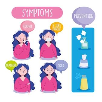 Covid 19 infografía de coronavirus, síntomas y prevención, fiebre, tos, resfriado, higiene, limpieza, ilustración