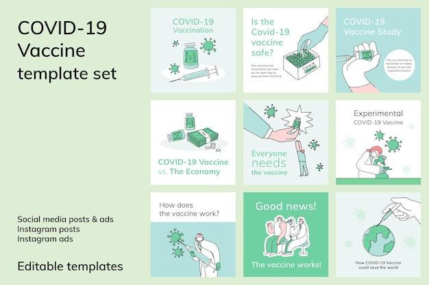 Covid 19 plantilla editable conjunto de ilustración de doodle de publicación de redes sociales