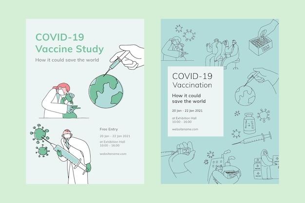 Covid 19 plantillas editables estudio de vacuna cartel doodle ilustración