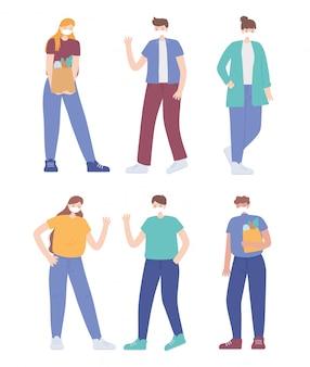 Covid 19 prevención de distanciamiento social de coronavirus, personas distanciadas con ilustración de mascarilla médica