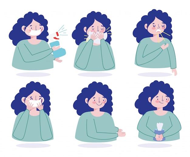 Covid 19 prevención síntomas protección contra brote de neumonía, pandemia de coronavirus