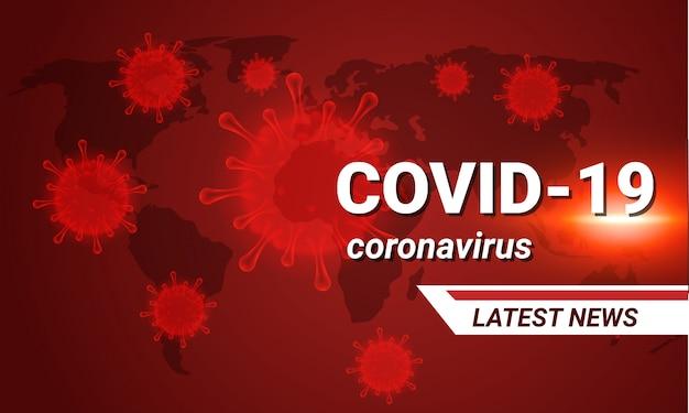 Covid-19 último banner de noticias para la prensa. célula molecular de coronavirus