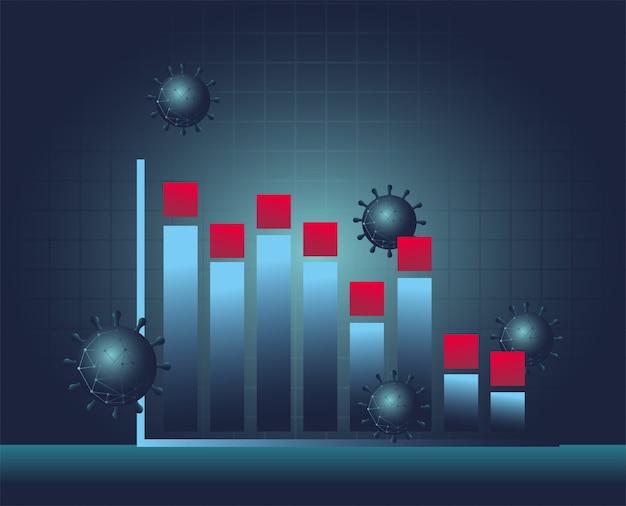 Covid 19 virus estadísticas barras gráfico diseño de icono de estilo degradado