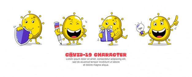 Covid amarillo-19. diseño de inspiración de dibujos animados de coronavirus. escudo, escritura, regalo e idea