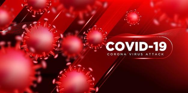 Covid coronavirus en concepto de ilustración 3d real para describir el ataque del virus corona