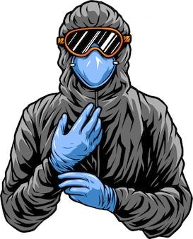 Covid doctor con traje protector
