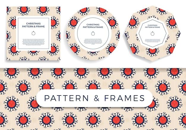 Covid de navidad de patrones sin fisuras y conjunto de marcos ilustración