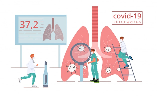 Covid19 ataque de coronavirus pulmones humanos infectados