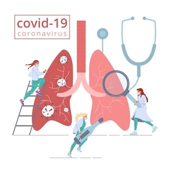 Covid19 virus ataque de salud pulmonar medicina lucha