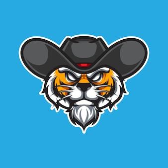 Cowboy tiger e sport logotipo