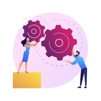 Coworking eficaz. unión de compañeros, colaboración de trabajadores, regulación del trabajo en equipo. aumento de la eficiencia del flujo de trabajo. los miembros del equipo organizan el mecanismo.