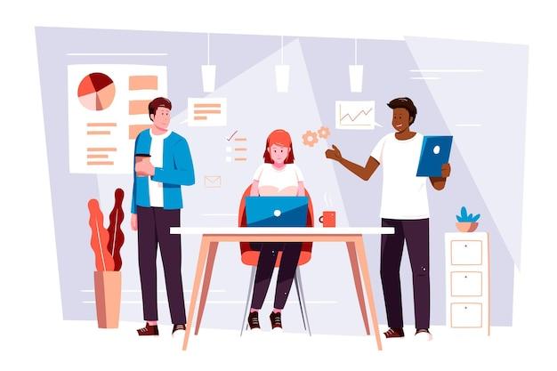 Coworking de equipo dual dibujado a mano plana en computadoras portátiles