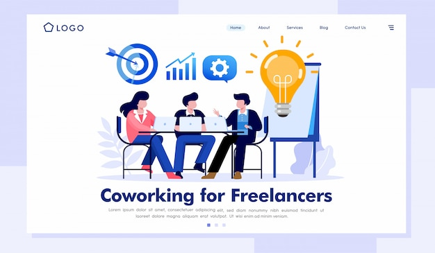 Coworking para freelancers página de inicio ilustración del sitio web