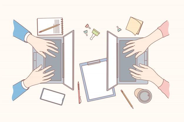 Coworking, negocio, concepto de codificación independiente