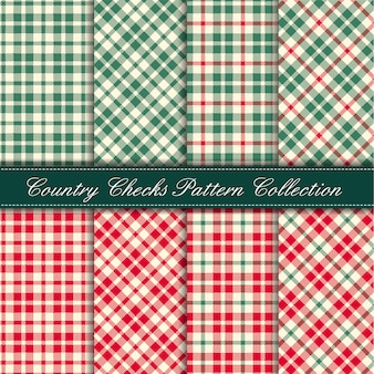 Cozy country gingham pattern collection rojo y verde