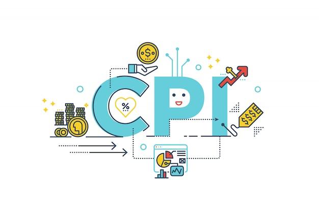 Cpi: ilustración de diseño de tipografía de letras de palabras de índice de precios al consumidor con iconos de líneas