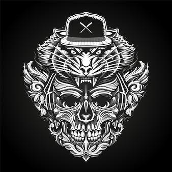 Cráneo adornado en auriculares y cabeza de tigre en la ilustración de vector abstracto snapback.